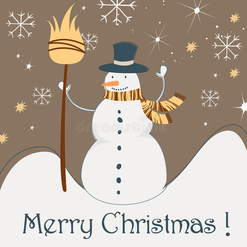 Download Cute Christmas Greeting Card With Snowman Stock Vector - Illustration of cute, gift: 16294235