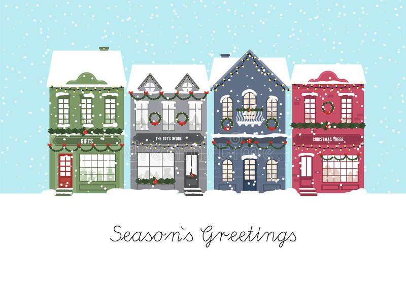 Cute Christmas houses. Winter village. Decorated Houses town. Season s Greetings. Vector royalty free illustration