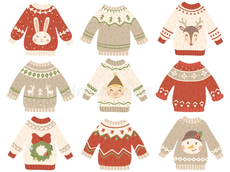 Cute christmas jumper. Xmas ugly sweater with funny snowman, Santas helpers and Santa beard. Winter fashion tacky royalty free illustration