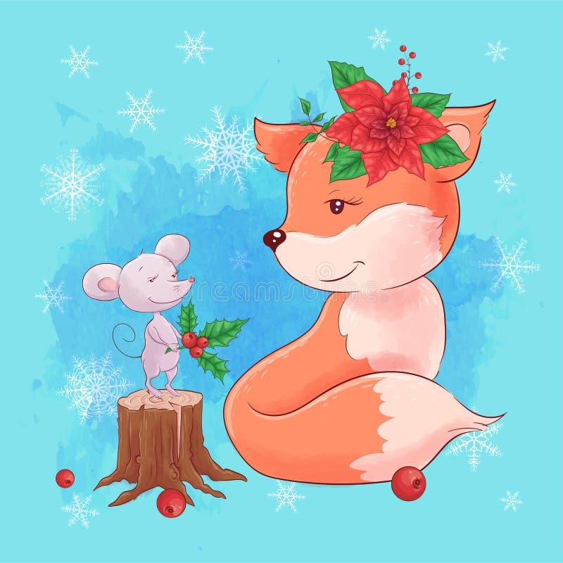 Cute christmas-kort med karikatyrräv med mus och en bukett av poinsettia Vektorillustration vektor illustrationer
