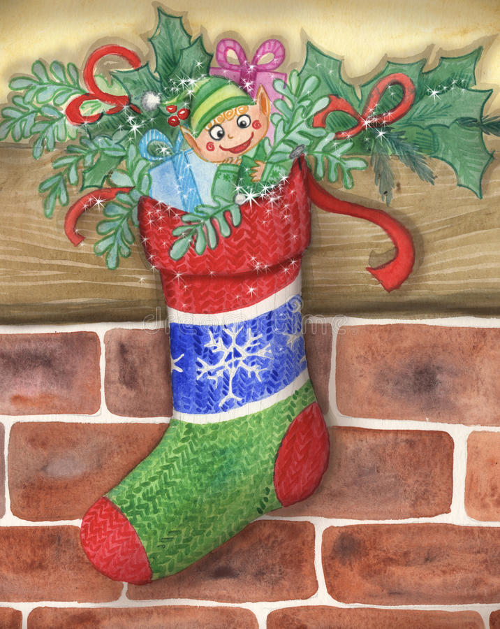 Download Cute Santas Little Elf In A Stocking Stock Illustration - Image: 28267402