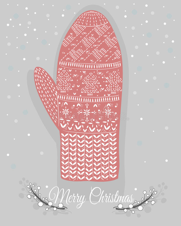 Cute christmas mitten with hearts a stock illustration