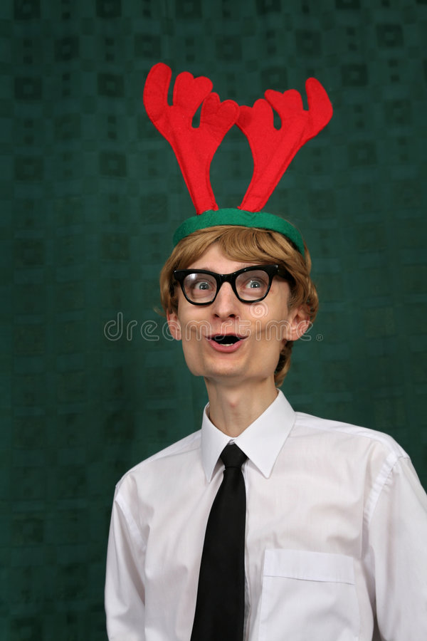 Download Cute Christmas nerd stock image. Image of merry, person - 7595645