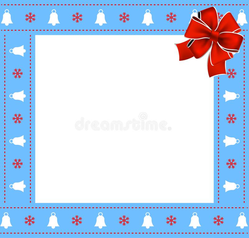 Cute Christmas or new year blue border with xmas bells, snowflakes pattern and red bow on white background. stock illustration