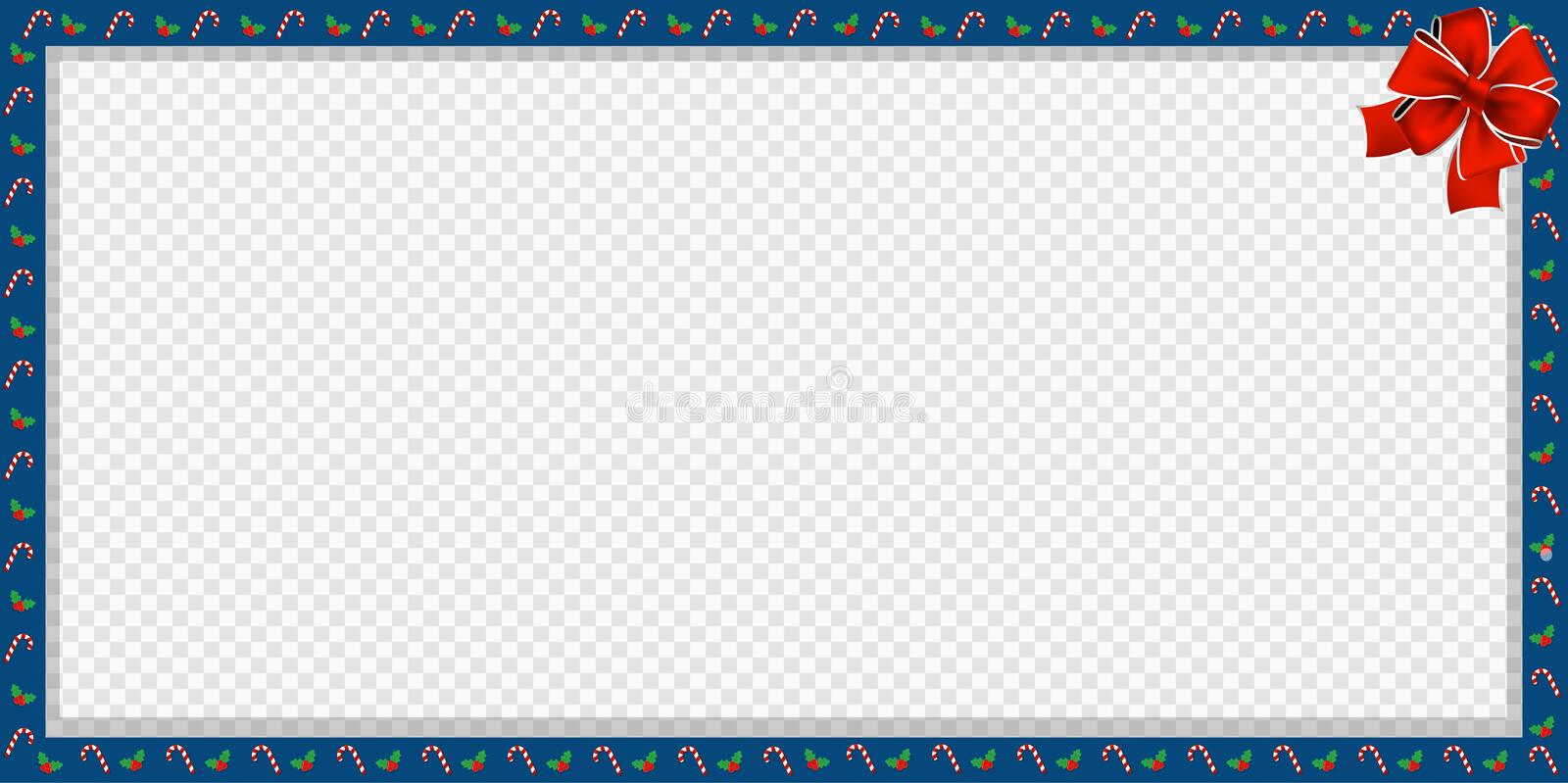 Cute Christmas or new year border with candy cane, berries pattern and red bow isolated vector illustration