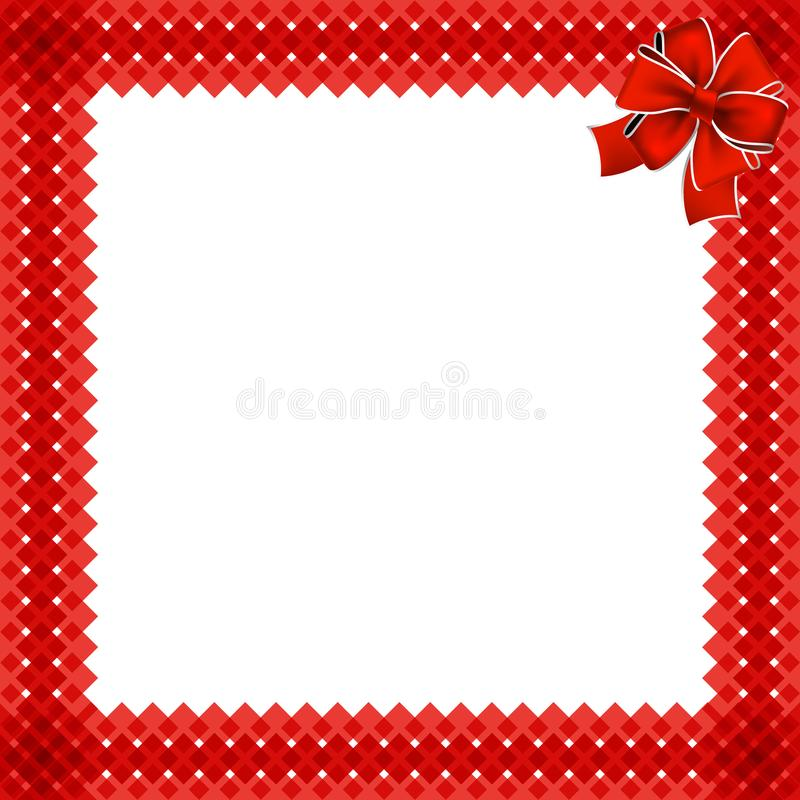 Cute christmas or new year border with red wicker pattern royalty free illustration