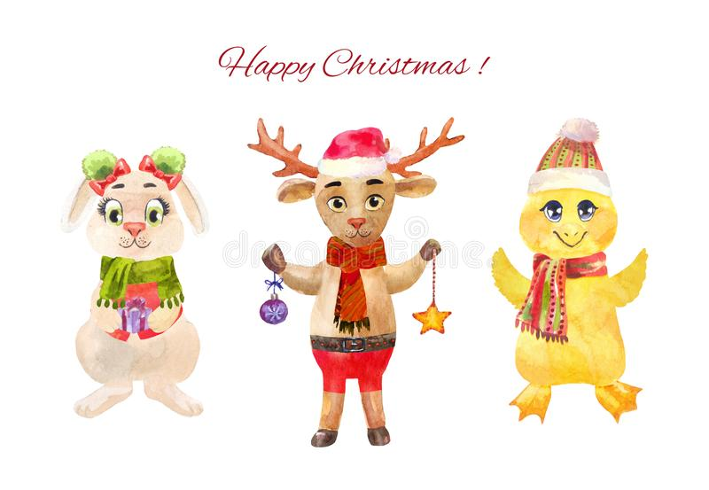 Cute Christmas or New Year characters isolated on white. Funny Christmas deer, chick and rabbit. Watercolor new year characters. Winter cartoon illustration royalty free illustration
