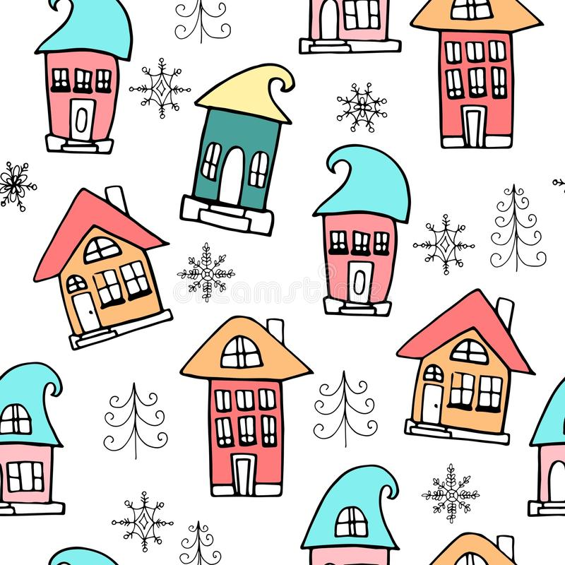Cute Christmas and New Year seamless pattern. Noel, house, snowflakes. stock illustration
