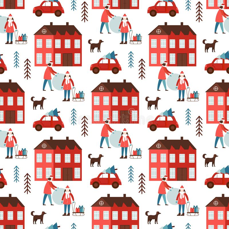 Cute Christmas and New Year seamless pattern royalty free stock photo