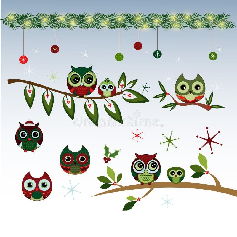 Cute Christmas Owls Vector Clipart stock illustration