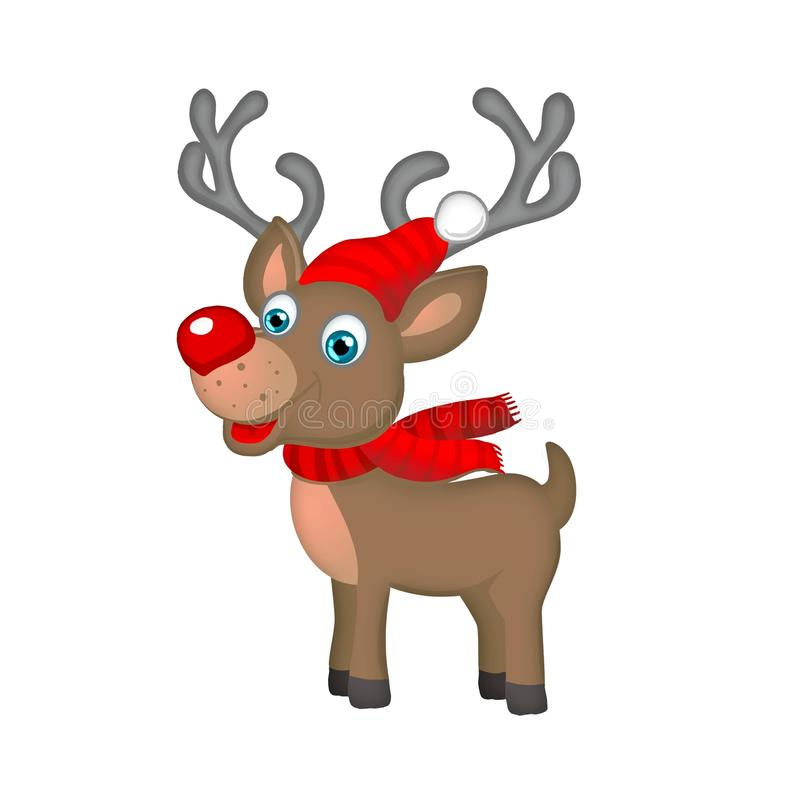 Download Cute Christmas Reindeer Isolated On White Stock Illustration