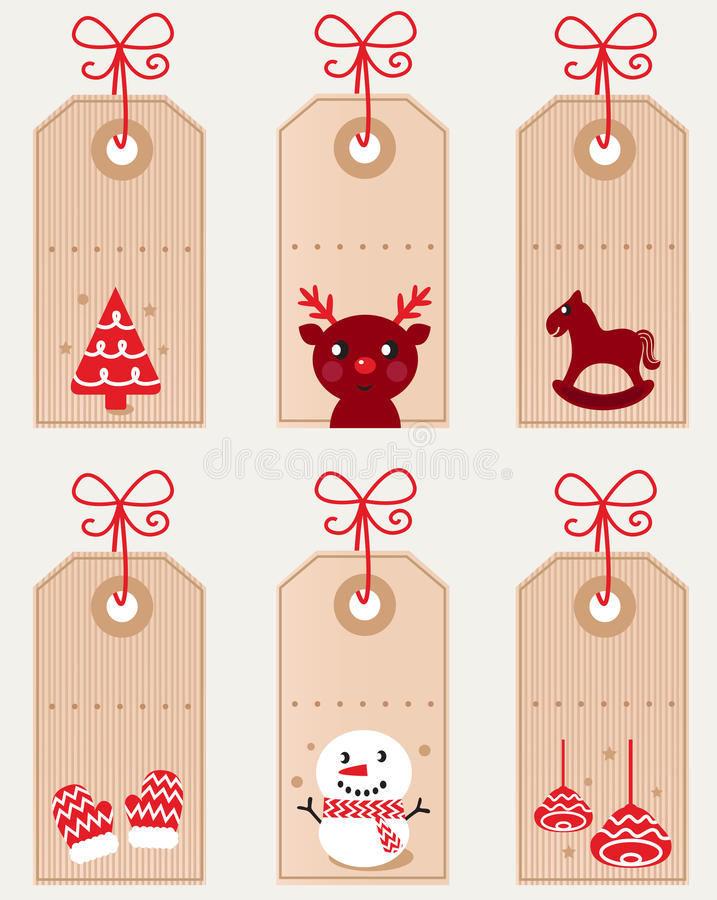 Cute christmas retro tags collection