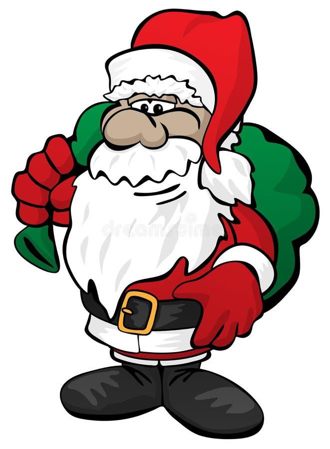 Cute Christmas Santa Claus with Toy Sack Cartoon Vector Illustration royalty free stock photo