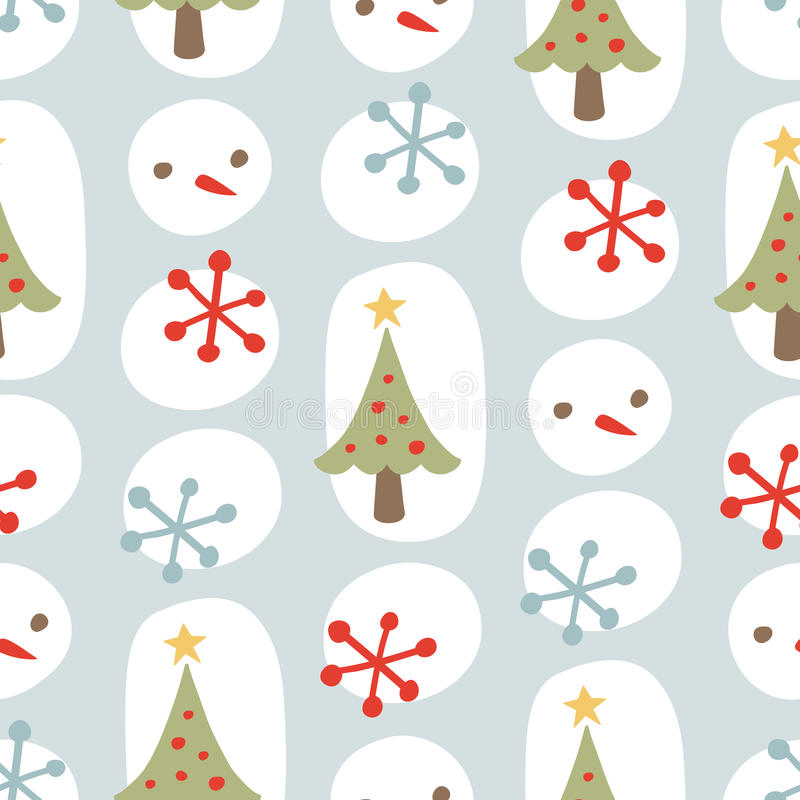 Cute Christmas Seamless Background Pattern Blue Stock Photo
