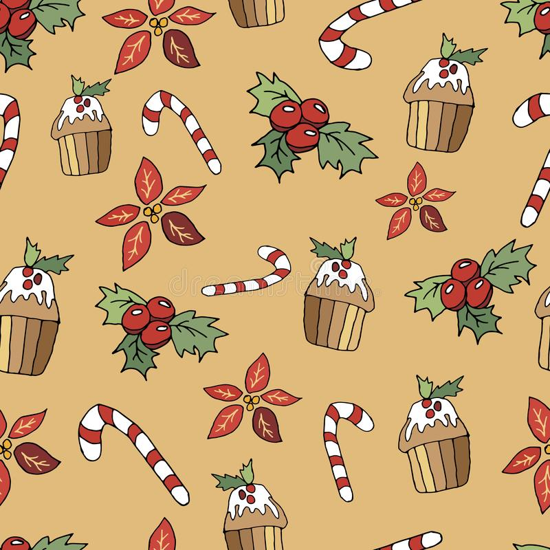 Cute Christmas seamless pattern in cartoon style. Lollipop, cupcake, spice and berries. Christmas print on a beige background. Holiday, xmas, wallpaper royalty free illustration