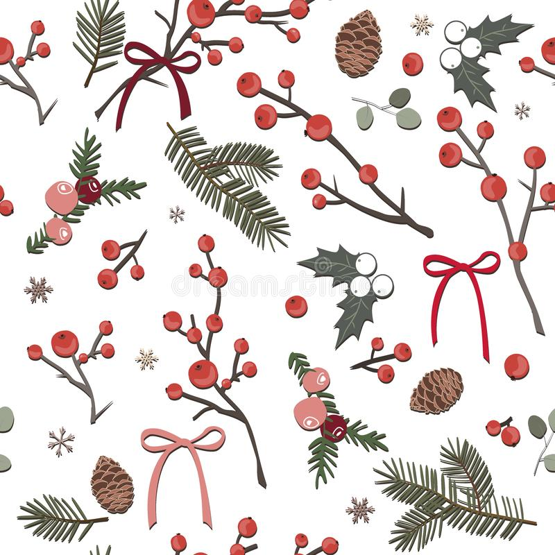 Cute Christmas seamless pattern with red berries, fir branches and holly leaves. Vector illustration for cards and vector illustration