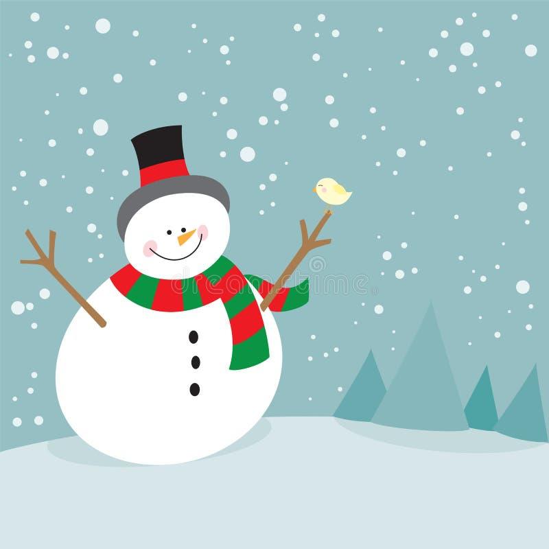 Cute christmas snowman and little bird stock illustration