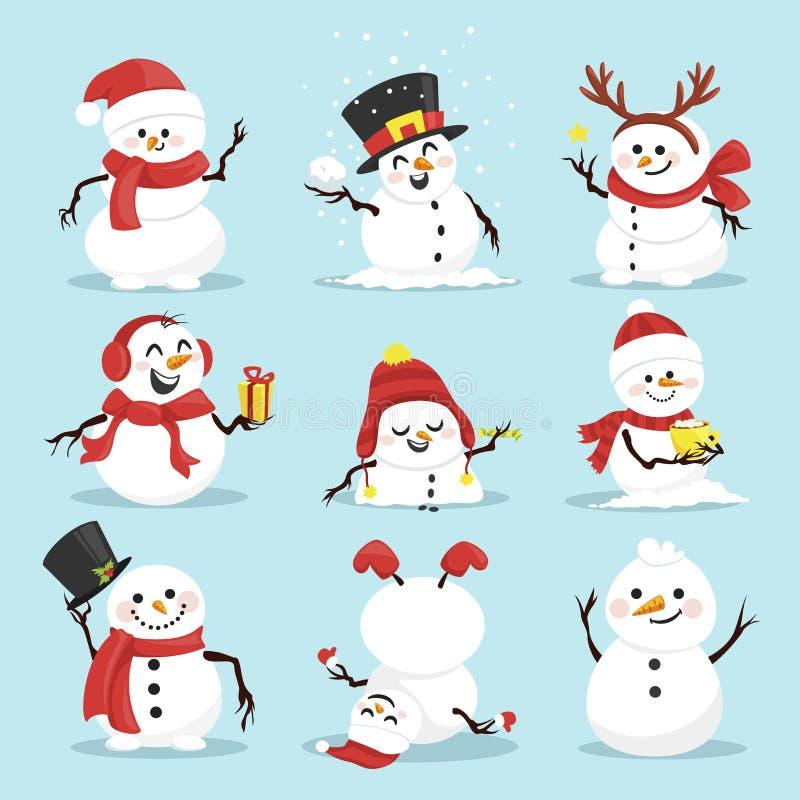 Cute christmas snowmen flat vector illustrations set royalty free illustration