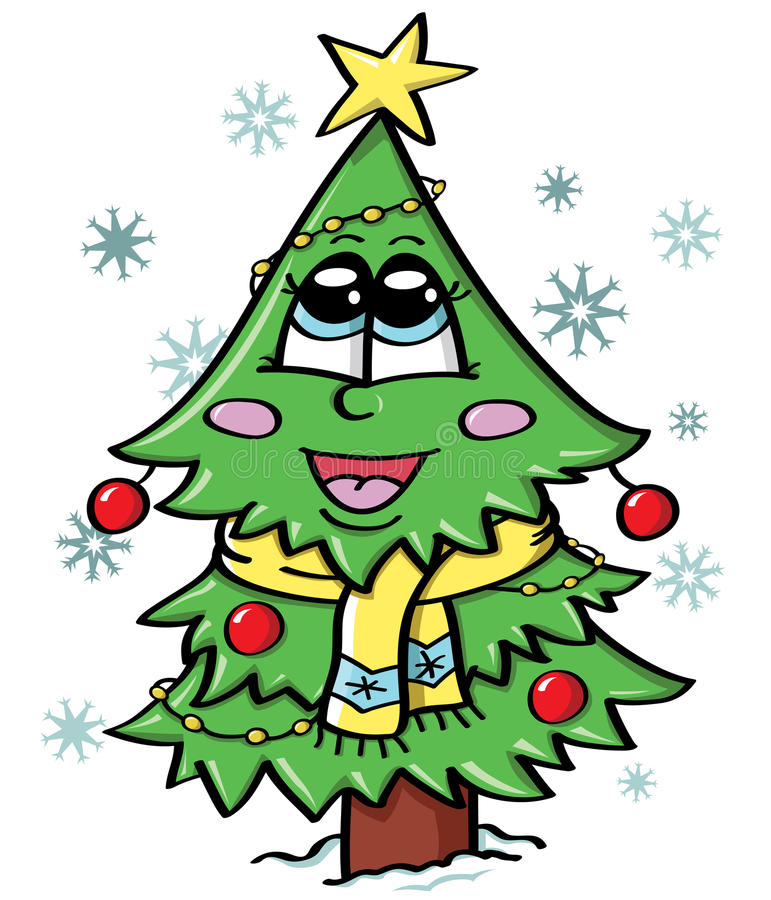 Download Cute Christmas tree stock vector. Image of year, snowflakes - 26614613