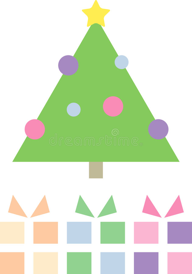 Cute Christmas tree with gift parcels. Modern pastel-colored illustration of a christmas tree with gift parcels; isolated stock illustration