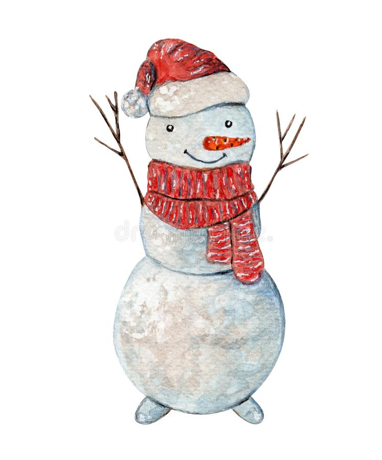 Cute Christmas watercolor Snowman in scarf and hat royalty free illustration
