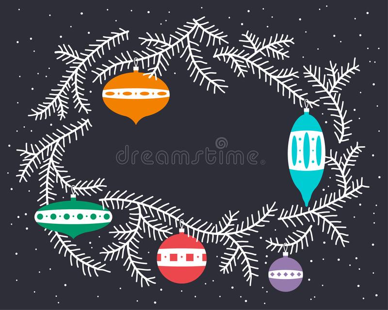 Download Cute Christmas Wreath With Decoration Balls And Fur Tree Branche Stock Vector - Image: 104761998