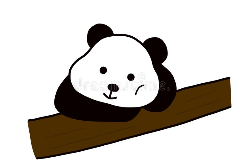 A cute chubby black and white panda. A cute chubby panda loves eat bamboo and sleep . It is like play in the bamboo forest vector illustration