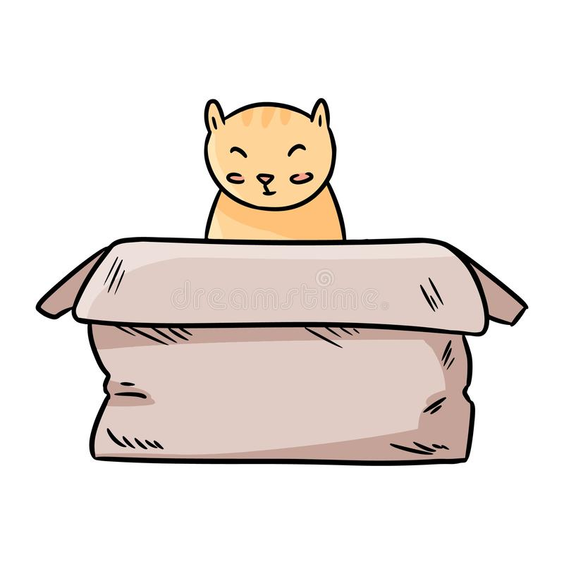 Cute chubby cat sitting in the paper box thin line cartoon image royalty free illustration