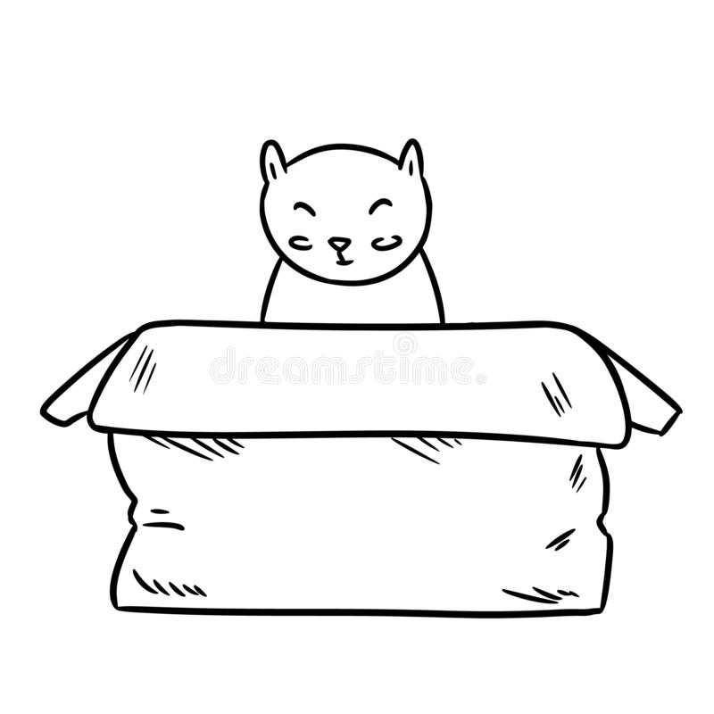 Cute chubby cat sitting in the paper box thin line doodle. Cute chubby cat sitting in the paper box line doodle stock illustration