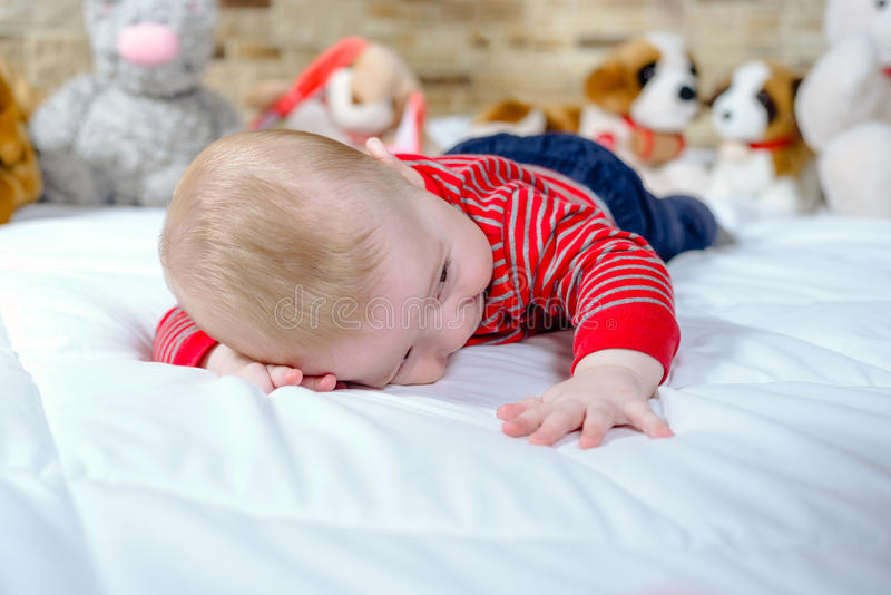 Cute chubby little baby with happy smile royalty free stock images