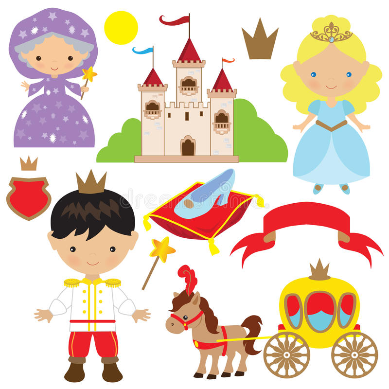 Cute cinderella fairytale vector illustration royalty free stock image