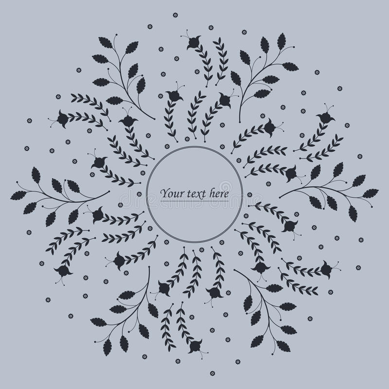 Cute circle frame with flowers and leaves. Can be used for invitations, poster or greeting cards vector illustration