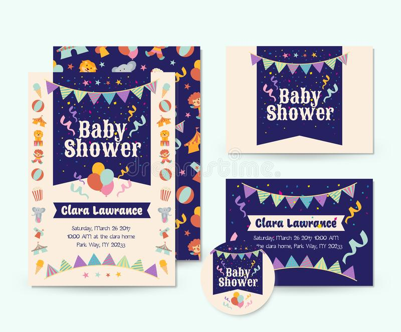 Cute Circus Theme Baby Shower Invitation Card Illustration Template ...