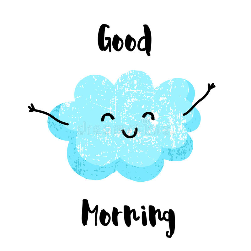 Cute cloud with hands smiling. Good morning card. Flat style. Vector illustration stock illustration