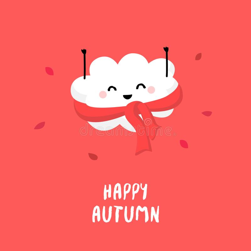 Cute cloud raises hands up and smiles. Happy Autumn. Vector cartoon card.  royalty free illustration