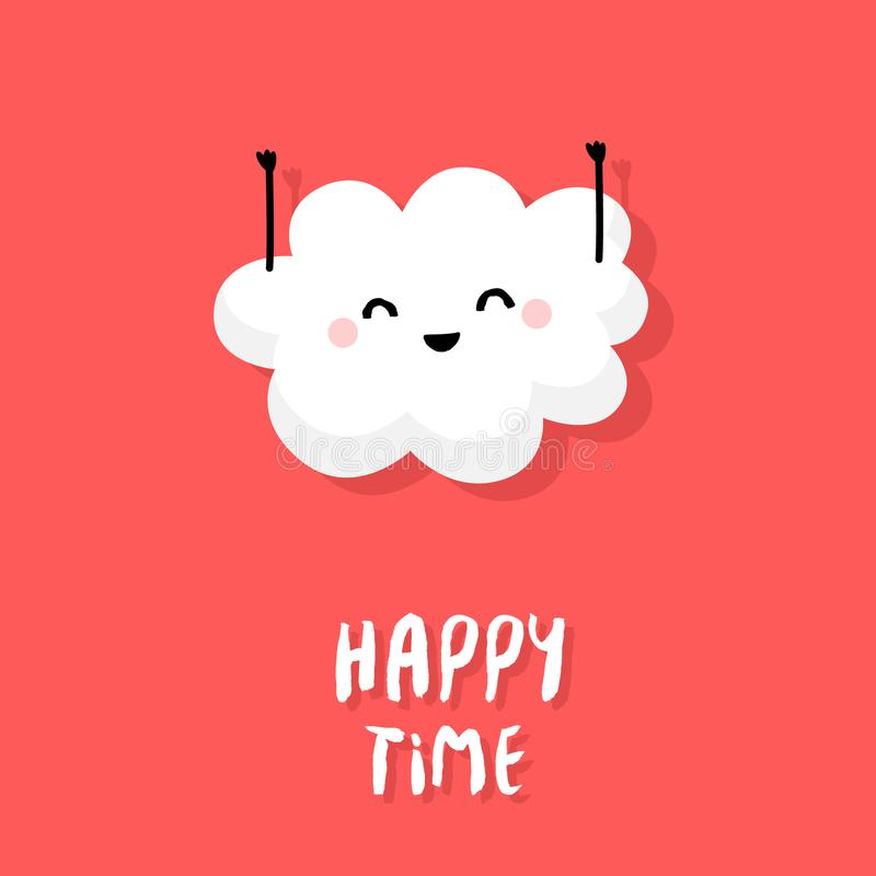 Cute cloud raises hands up and smiles on red background. Happy Time. Vector cartoon card vector illustration