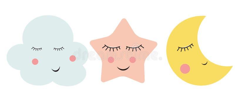 Cute Cloud, Star and Moon Vector Illustration vector illustration