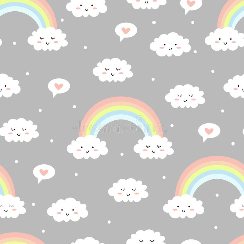 Cute clouds with rainbow on grey background. Seamless pattern. Vector illustration stock illustration