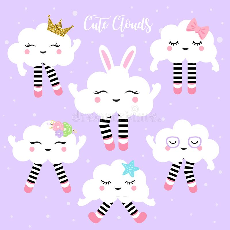 Cute clouds vector illustration for kids. Cute clouds in kawaii style stock image