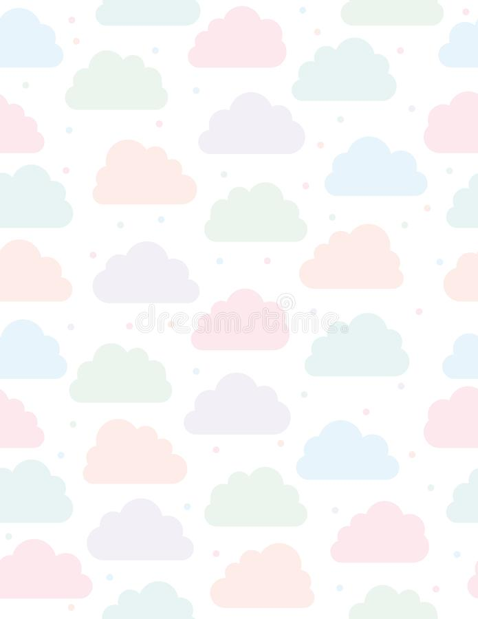 Cute Clouds Vector Pattern. White Background. Pink, Blue, Violet and Green Clouds and Dots. Simple Soft Seamless Design. stock illustration