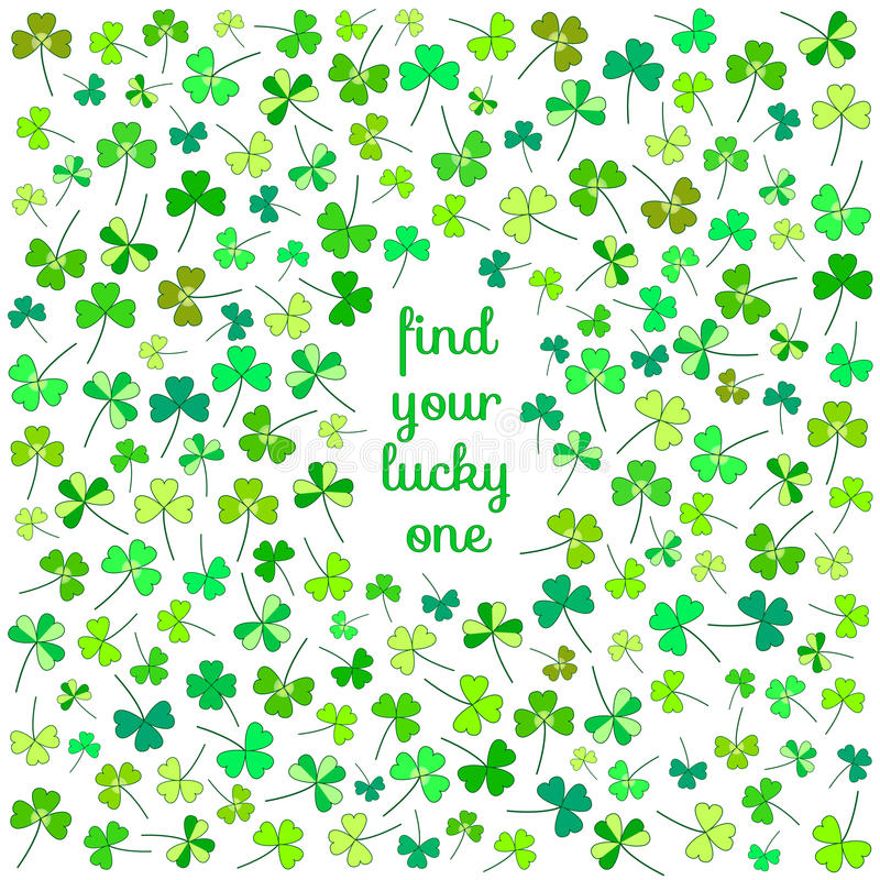Free Cute Clover Flower Postcard Royalty Free Stock Image - 48296676