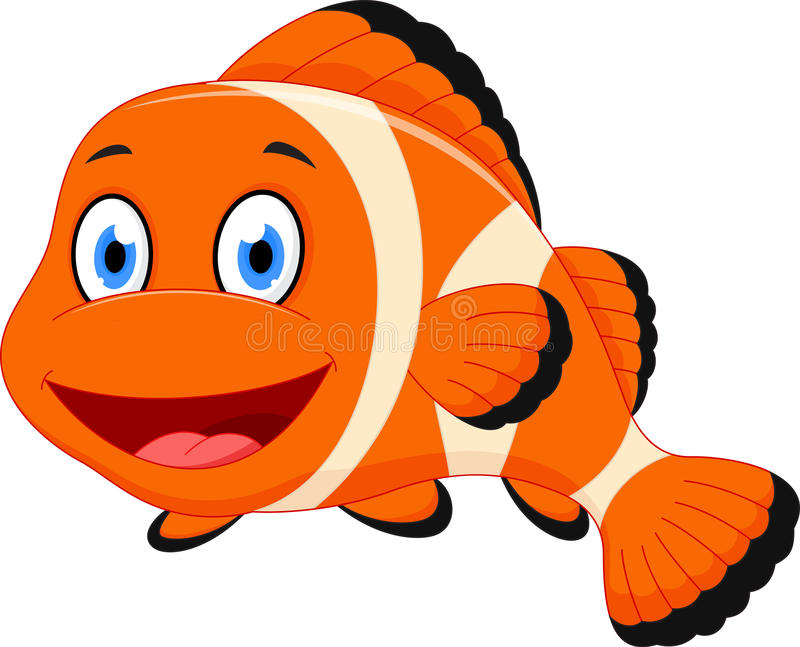 cute clown fish cartoon stock vector illustration of clown fish clip art black and white clownfish clipart #37