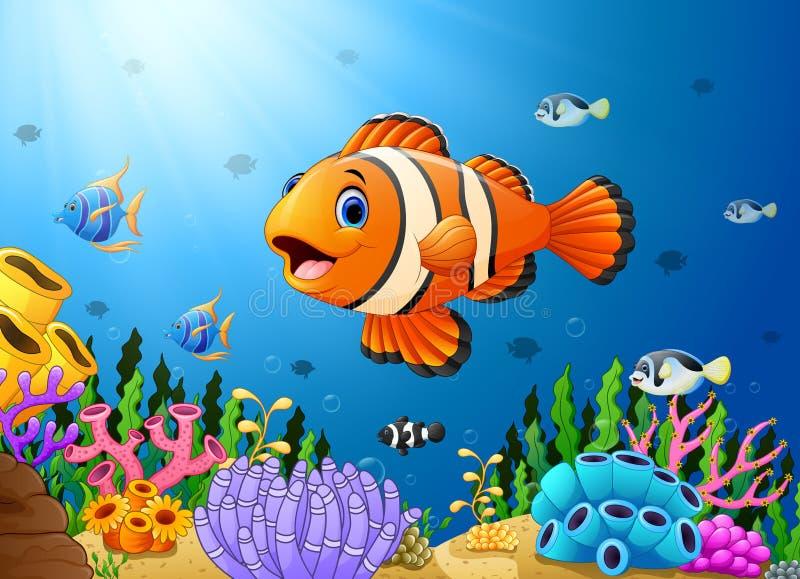 Cute clown fish cartoon in the sea. Illustration of Cute clown fish cartoon in the sea royalty free illustration