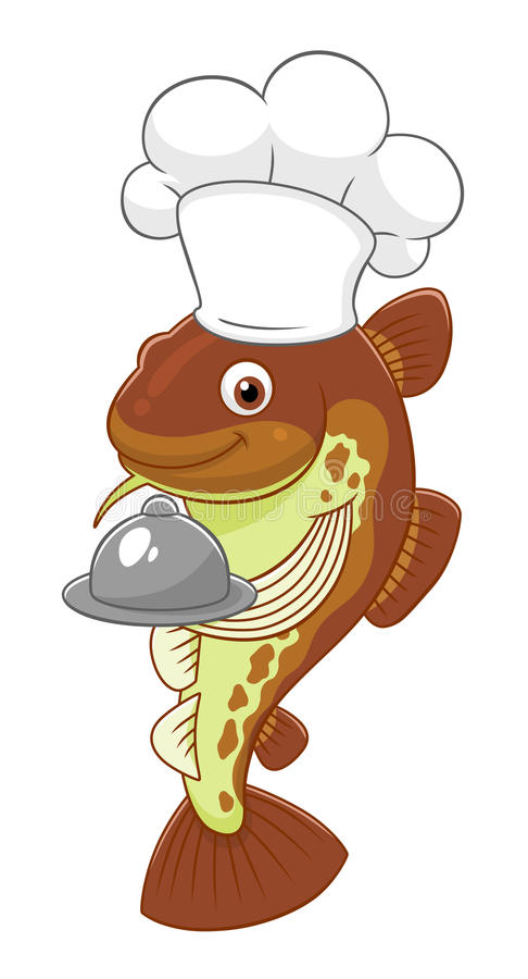 Cute cod chef. Cartoon cute cod chef isolated on white background stock illustration