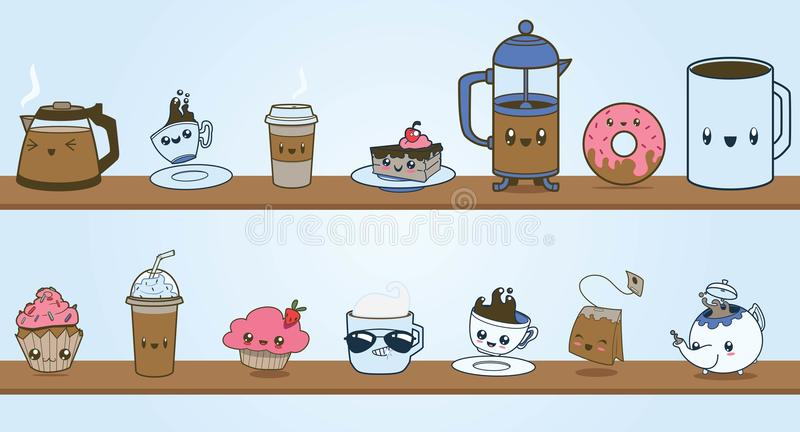 Cute Coffee Shop Vector Clipart Character Set Stock Vector ...