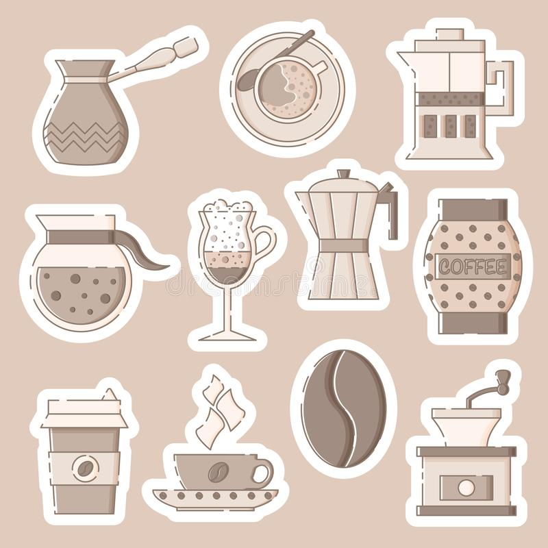 Coffee sticker pack in flat linear style royalty free illustration