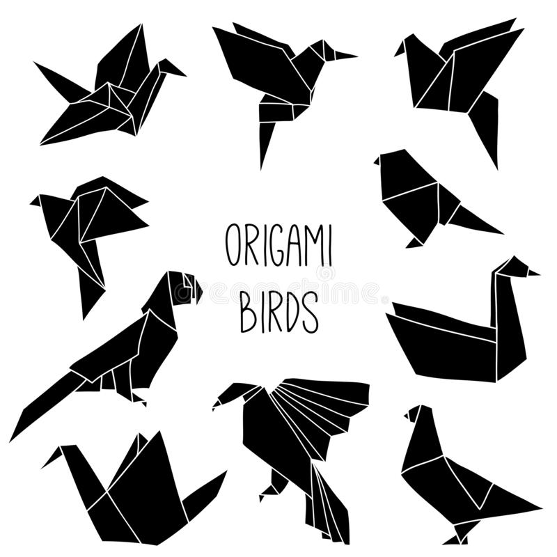 Cute collection with 10 black origami bird silhouettes. Vector set of line geometric birds: crane, pigeon, parrot, swan, colibri royalty free illustration