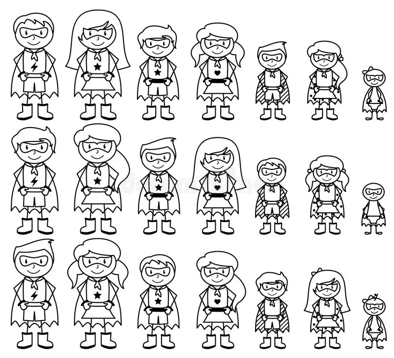 Cute Collection of Diverse Stick Figure Superheroes or Superhero Families. Vector Format vector illustration