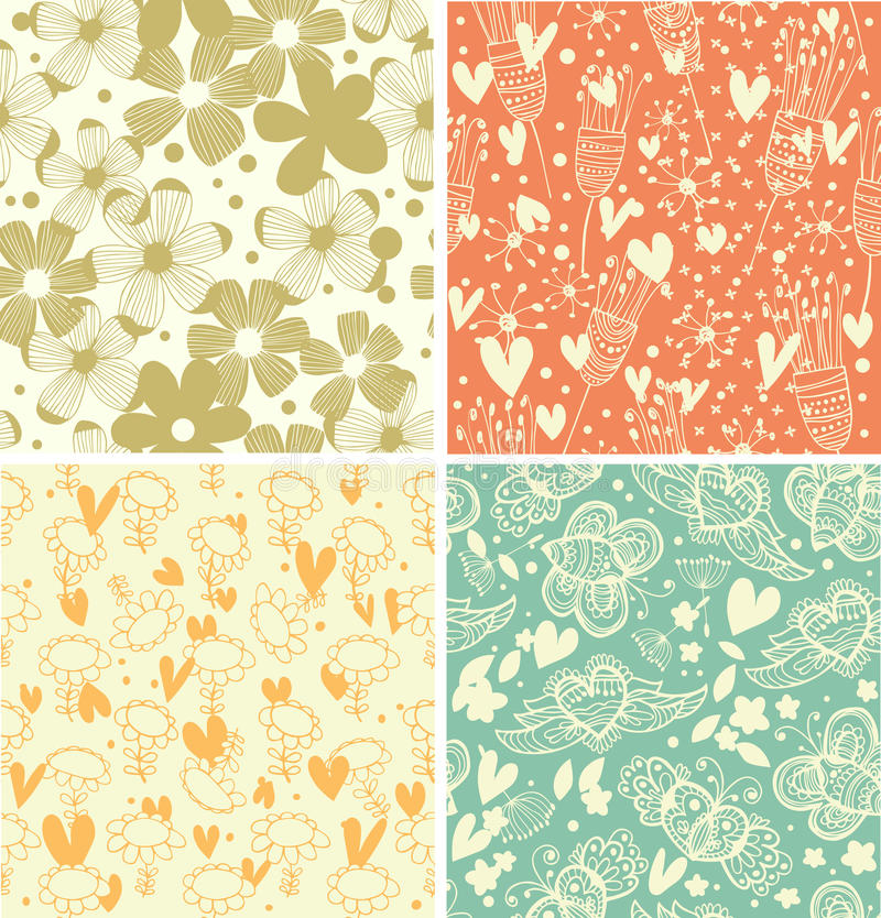 Download Cute Collection Of Floral Patterns  Set Of Beautiful Country Backgrounds Stock Illustration - Image: 34835145