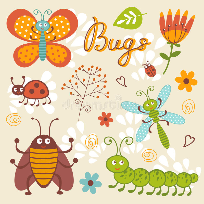 Cute collection of happy little bugs vector illustration